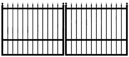 4 39 x 20 39 residential dual aluminum flat style driveway gate for Aluminum driveway gates prices