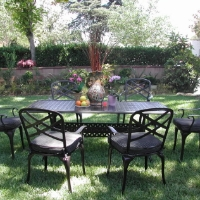 7pc Antique Black Bronze Aluminum Outdoor Patio Furniture Dining Set