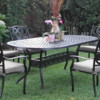 7pc Black Bronze Cast Aluminum Outdoor Patio Furniture Dining Set