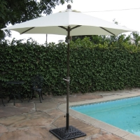 High Quality White 8' Outdoor Garden Aluminum Frame Tilt Umbrella