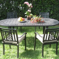 7pc Desert Brown Aluminum Outdoor Patio Furniture Dining Set