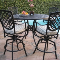 5pc Desert Brown Cast Aluminum Outdoor Patio Furniture Bar Set with 4 Swivel Chairs