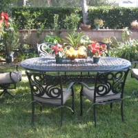 7pc Cast Aluminum Outdoor Patio Furniture Dining Set with 2 Swivel Chairs