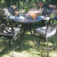 5pc Desert Brown Aluminum Outdoor Patio Furniture Bar Set