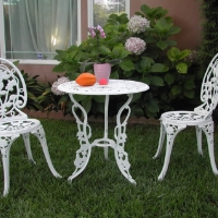 3pc White Aluminum Outdoor Patio Furniture Bistro Set