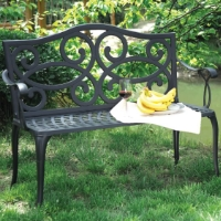 Antique Black Brown Cast Aluminum Outdoor Patio Furniture Arm Bench