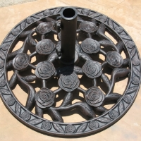 "High Quality 24"" Powder Coated 44 Lbs Wrought Iron Umbrella Base"