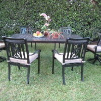 7pc Black Cast Aluminum Outdoor Patio Furniture Dining Set with 2 Swivel Chairs