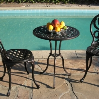 3pc Antique Brown Aluminum Outdoor Patio Furniture Bistro Set