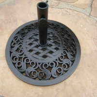"High Quality 24"" Powder Coated 55 Lbs Wrought Iron Umbrella Base"
