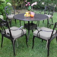 5pc Black Bronze Aluminum Outdoor Patio Furniture Dining Set