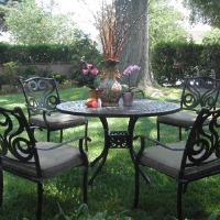 5pc Black Brown Cast Aluminum Outdoor Patio Furniture Dining Set