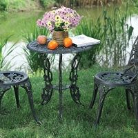 3pc Black Bronze Outdoor Patio Furniture Bistro Set