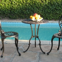 3pc Black Brown Aluminum Outdoor Patio Furniture Bistro Set