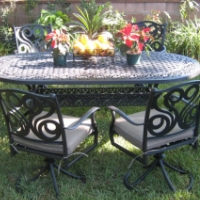 7pc Cast Aluminum Outdoor Patio Furniture Swivel Set