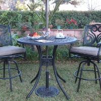 3pc Black Bronze Cast Aluminum Outdoor Patio Furniture Bar Set