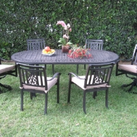 7pc Aluminum Outdoor Patio Furniture Dining Set with 2 Swivel Chairs