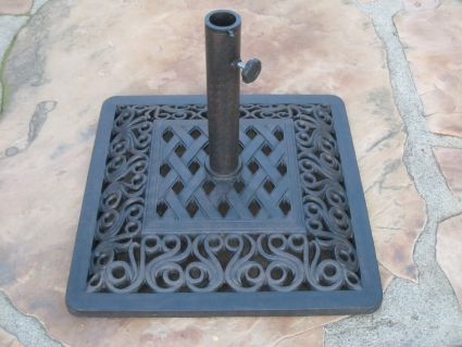"""high quality 22"""" powder coated 53 lbs wrought iron umbrella base Wrought Iron Umbrella Base"""