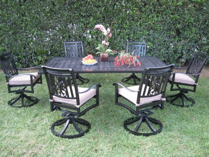 Superb 7Pc Cast Aluminum Outdoor Patio Furniture Dining Set With 6 Swivel Chairs Home Interior And Landscaping Eliaenasavecom
