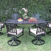 7pc Cast Aluminum Outdoor Patio Furniture Dining Set with 6 Swivel Chairs