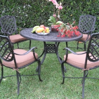 5pc Desert Brown Cast Aluminum Outdoor Patio Furniture Dining Set