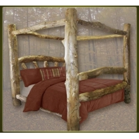 Brand New Custom Rustic Furniture Aspen Log Canopy Bed