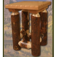 Brand New Bark on Lodge Pole Pine Leg Nightstand
