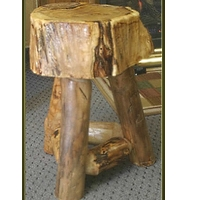 Rustic Suncracked Tripod End Table with Aspen Supports