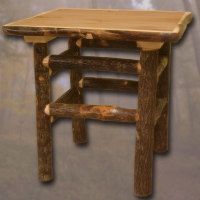 Brand New Rustic Furniture Bark on Lodge Pole End Table/Nightstand