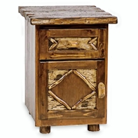 Brand New Rustic Furniture Enclosed Nightstand - Adirondack Style