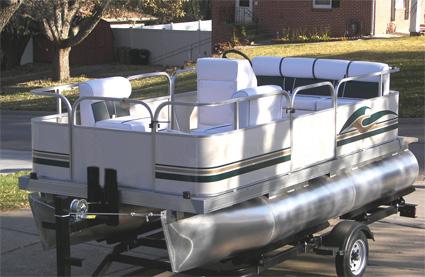 14 ft Cruising Pontoon Boat w/ Bimini Top + Steering Console + Rear Bench