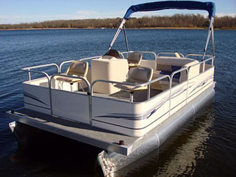 16 Ft Pontoon Boat W Bimini Top Steering Console Rear