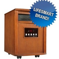 Brand New 1500 Watt Portable Infrared Space Heater - Heats 1000 Sq. Feet  w/ Dark Oak Stain Finish