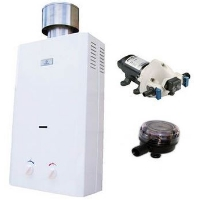Eccotemp L10 Water Heater, Flojet Pump & Strainer Tankless Water Heater Bundle