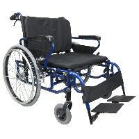 "Brand New High Quality Karman BT-10 26"" Seat Foldable Wheelchair with Detachable Footrests"