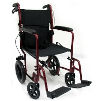 "Brand New High Quality Karman LT-1000 Transport Wheelchair with Loop Brakes and 12.5"" Large Wheels"
