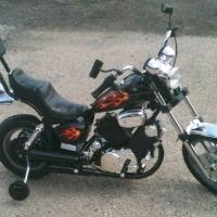 "Kids Battery Power Ride on Motorcycle Harley 15"" Wheels Black Chrome"
