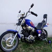 "Kids Electric Battery Power Ride On Blue Motorcycle Harley 15"" Wheels"